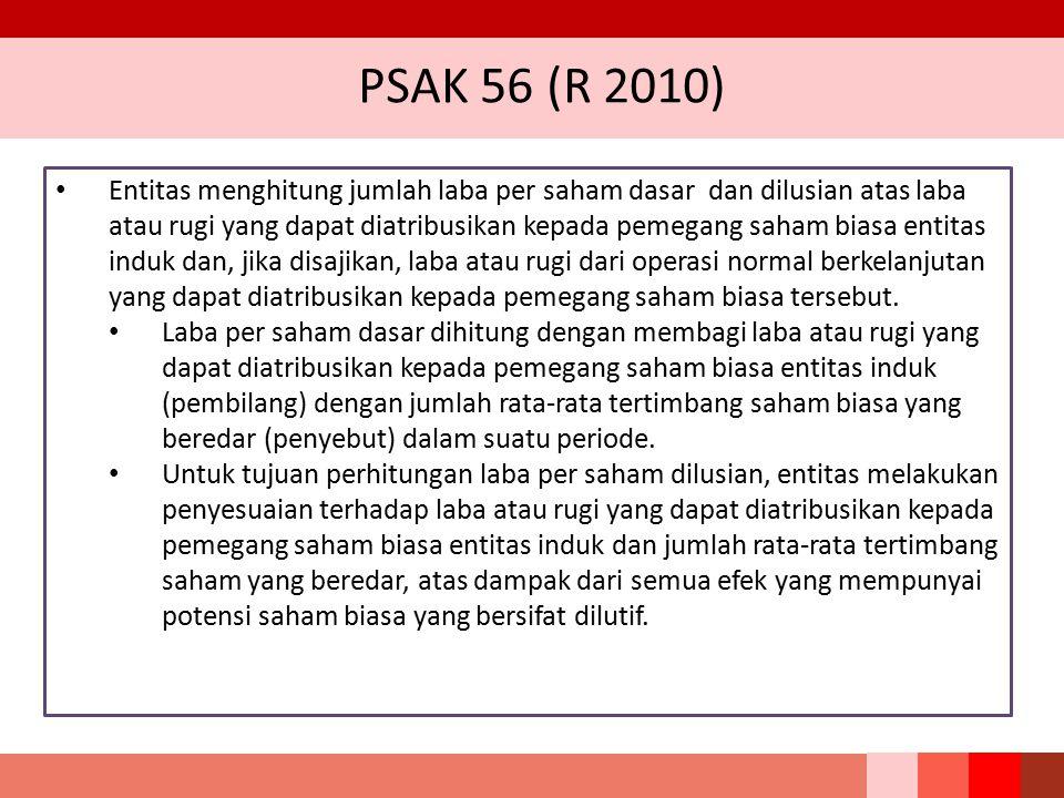 PSAK 56 (R 2010) Entitas menghitung jumlah laba per saham dasar dan dilusian atas laba atau rugi yang dapat diatribusikan kepada pemegang saham biasa
