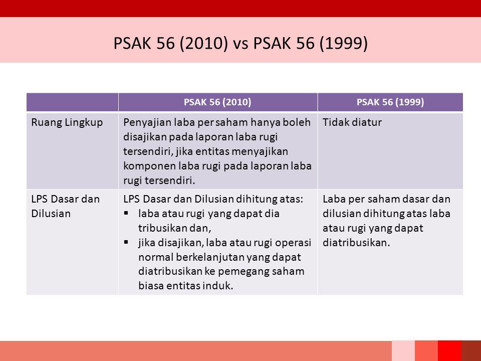 PSAK 56 (2010) vs PSAK 56 (1999) PSAK 56 (2010)PSAK 56 (1999) Ruang LingkupPenyajian laba per saham hanya boleh disajikan pada laporan laba rugi terse