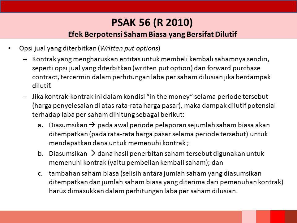 PSAK 56 (R 2010) Efek Berpotensi Saham Biasa yang Bersifat Dilutif Opsi jual yang diterbitkan (Written put options) – Kontrak yang mengharuskan entita