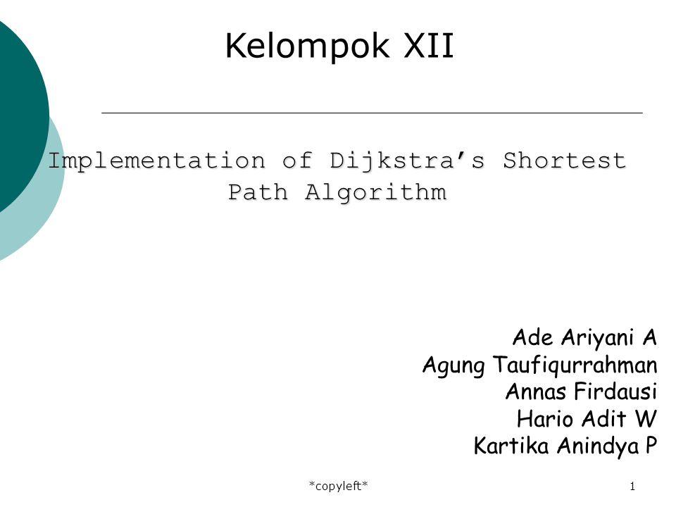 *copyleft*1 Ade Ariyani A Agung Taufiqurrahman Annas Firdausi Hario Adit W Kartika Anindya P Kelompok XII Implementation of Dijkstra's Shortest Path Algorithm