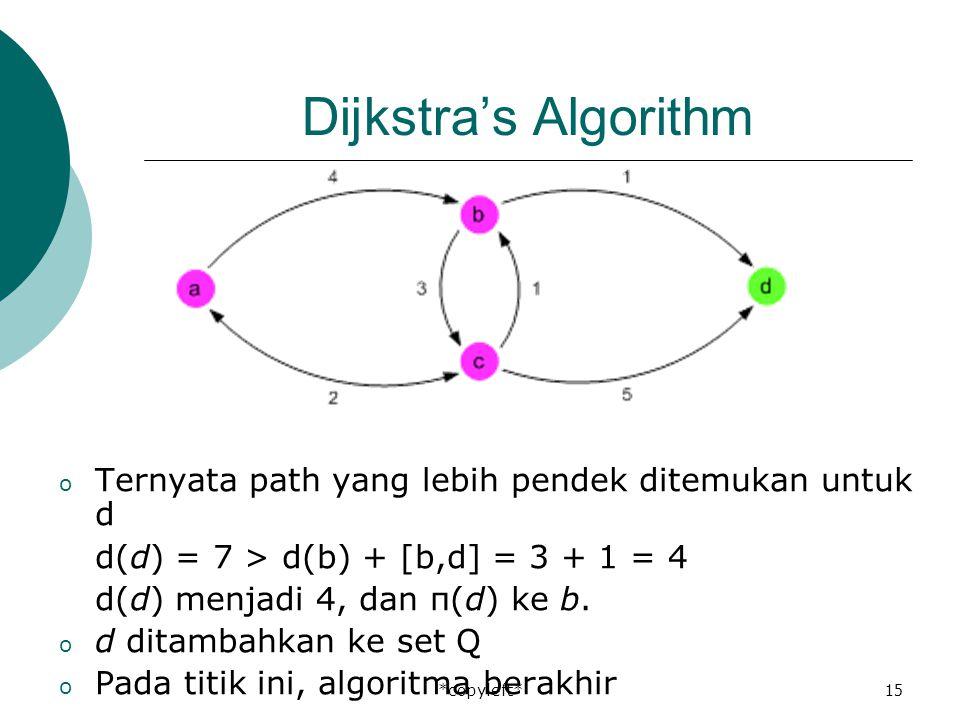 *copyleft*15 Dijkstra's Algorithm o Ternyata path yang lebih pendek ditemukan untuk d d(d) = 7 > d(b) + [b,d] = 3 + 1 = 4 d(d) menjadi 4, dan π(d) ke b.
