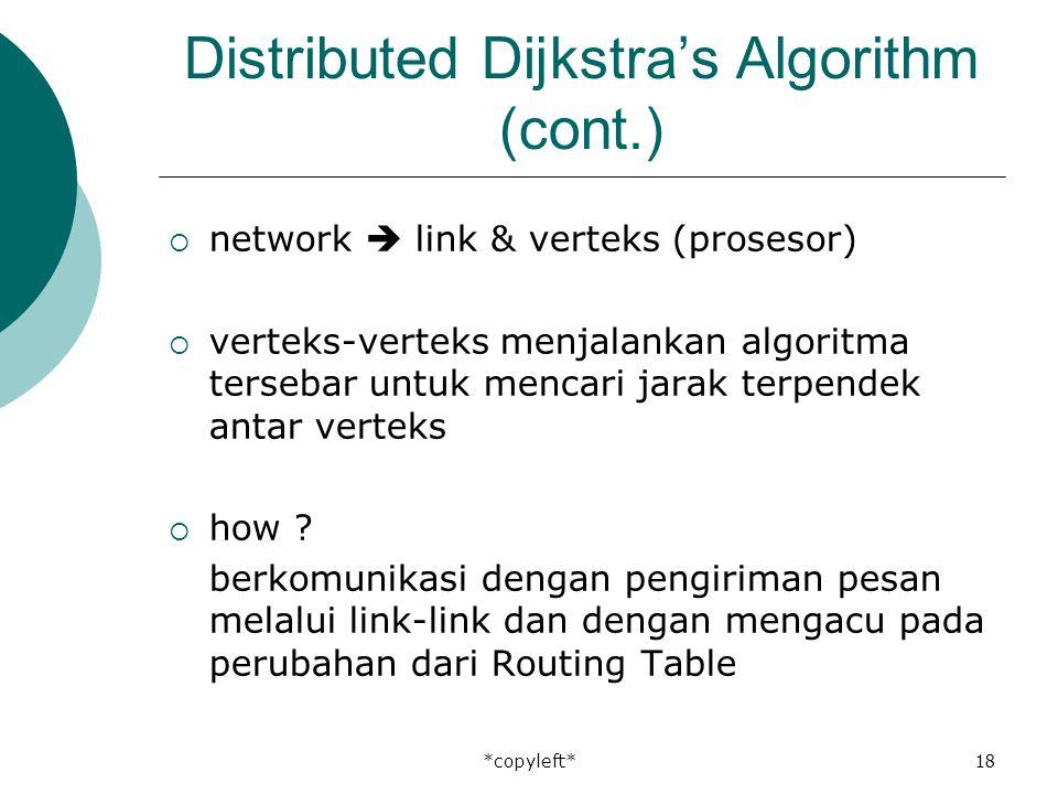 *copyleft*18 Distributed Dijkstra's Algorithm (cont.)  network  link & verteks (prosesor)  verteks-verteks menjalankan algoritma tersebar untuk mencari jarak terpendek antar verteks  how .