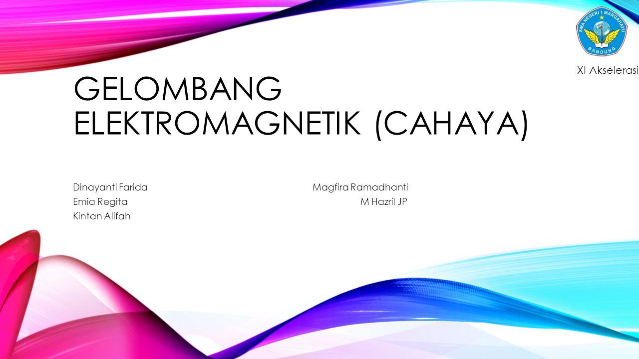 GELOMBANG ELEKTROMAGNETIK (CAHAYA) Dinayanti FaridaMagfira Ramadhanti Emia RegitaM Hazril JP Kintan Alifah XI Akselerasi