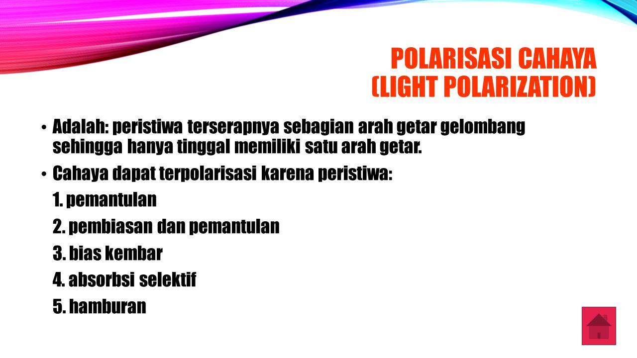 POLARISASI CAHAYA (LIGHT POLARIZATION) Adalah: peristiwa terserapnya sebagian arah getar gelombang sehingga hanya tinggal memiliki satu arah getar. Ca