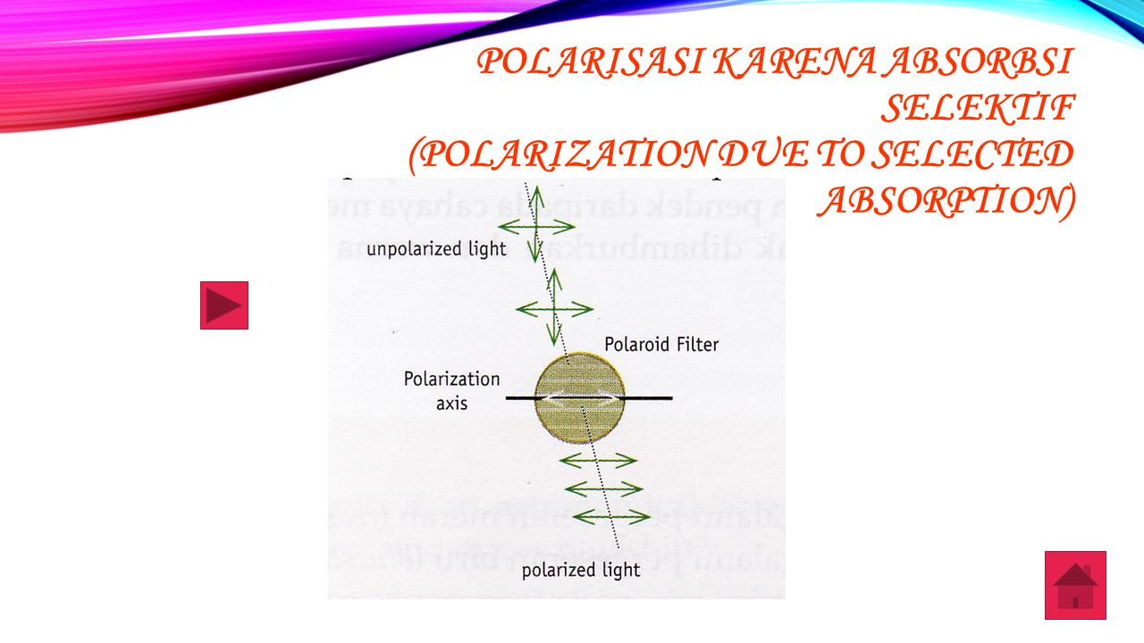 POLARISASI KARENA ABSORBSI SELEKTIF (POLARIZATION DUE TO SELECTED ABSORPTION)