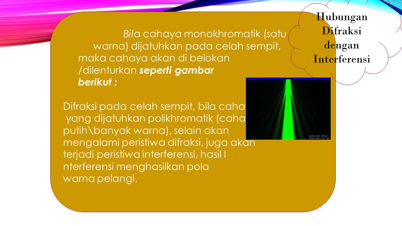 Bila cahaya monokhromatik (satu warna) dijatuhkan pada celah sempit, maka cahaya akan di belokan /dilenturkan seperti gambar berikut : Difraksi pada c