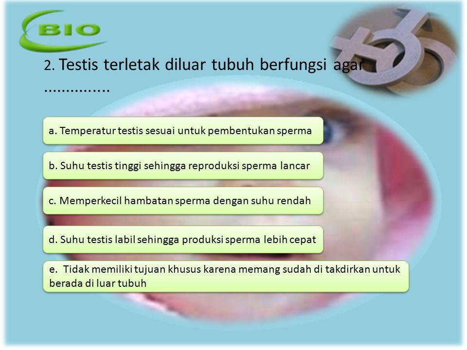 2. Testis terletak diluar tubuh berfungsi agar............... a. Temperatur testis sesuai untuk pembentukan sperma d. Suhu testis labil sehingga produ