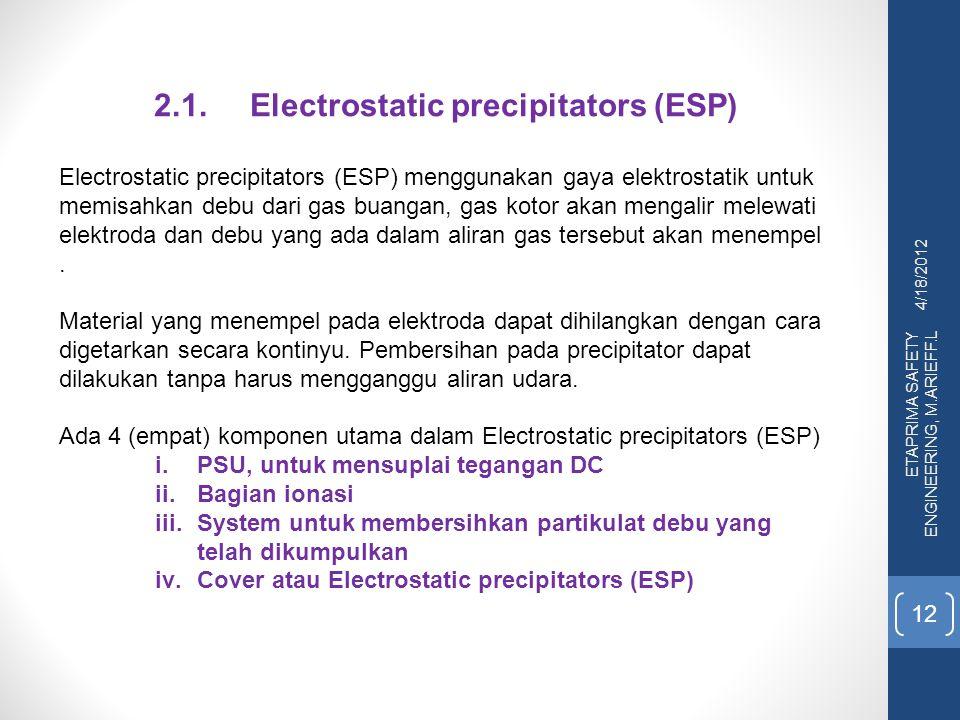 4/18/2012 ETAPRIMA SAFETY ENGINEERING, M.ARIEFF.L 12 2.1.Electrostatic precipitators (ESP) Electrostatic precipitators (ESP) menggunakan gaya elektros