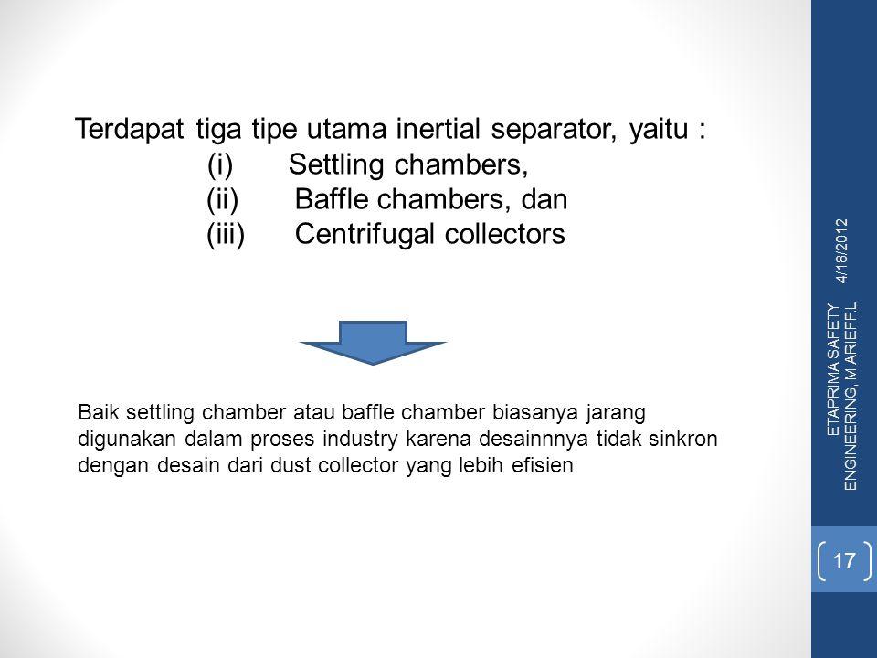 4/18/2012 ETAPRIMA SAFETY ENGINEERING, M.ARIEFF.L 17 Terdapat tiga tipe utama inertial separator, yaitu : (i)Settling chambers, (ii) Baffle chambers,