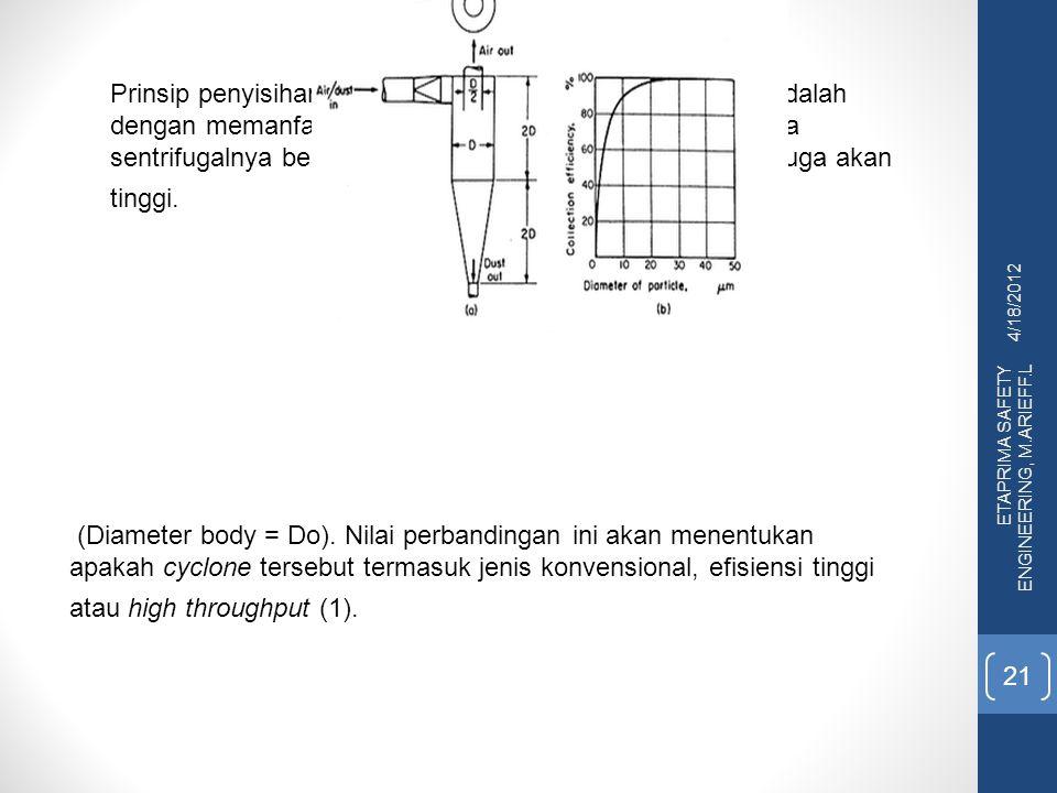 4/18/2012 ETAPRIMA SAFETY ENGINEERING, M.ARIEFF.L 21 (Diameter body = Do). Nilai perbandingan ini akan menentukan apakah cyclone tersebut termasuk jen