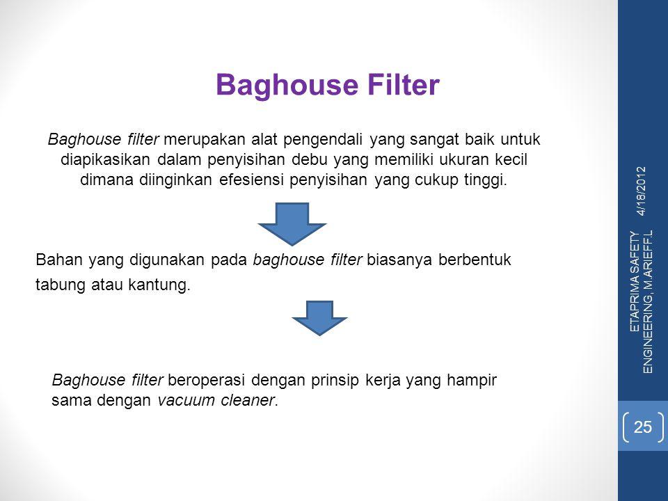 4/18/2012 ETAPRIMA SAFETY ENGINEERING, M.ARIEFF.L 25 Baghouse Filter Baghouse filter merupakan alat pengendali yang sangat baik untuk diapikasikan dal