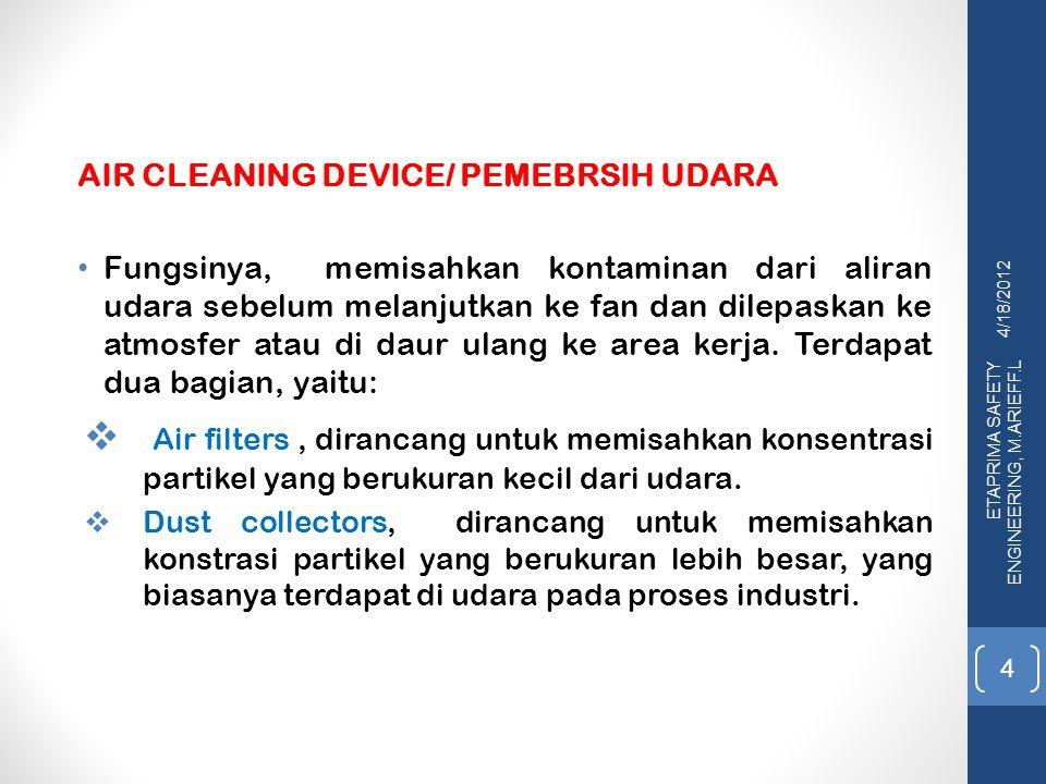 4/18/2012 ETAPRIMA SAFETY ENGINEERING, M.ARIEFF.L 15 2.3.Wet Scrubbers Dust collector yang menggunakan cairan dikenal dengan nama wet scrubbers.