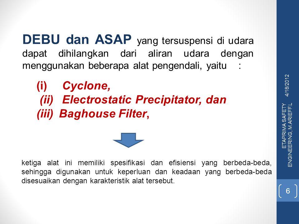 4/18/2012 ETAPRIMA SAFETY ENGINEERING, M.ARIEFF.L 6 (i) Cyclone, (ii) Electrostatic Precipitator, dan (iii) Baghouse Filter, DEBU dan ASAP yang tersus