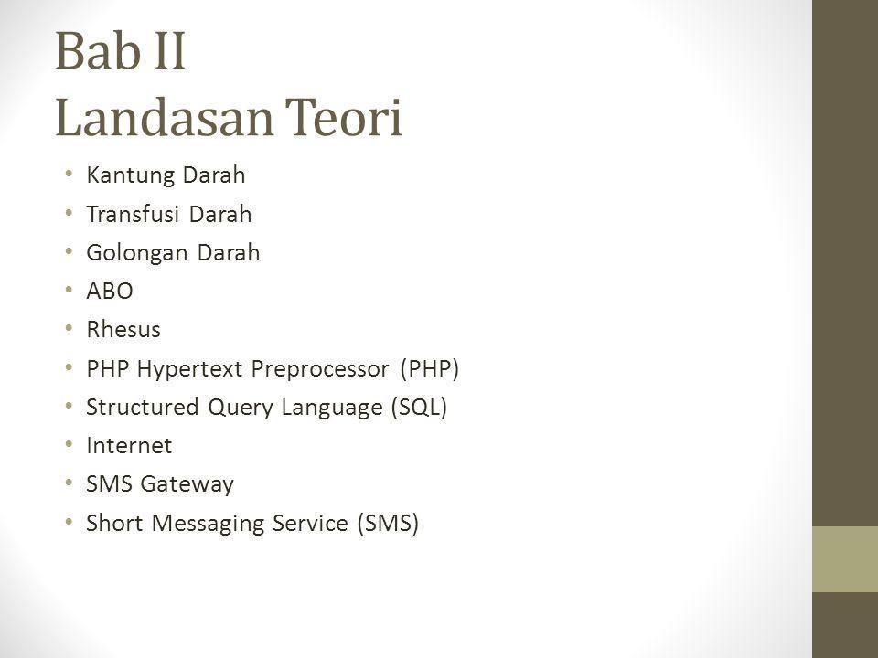 Bab II Landasan Teori Kantung Darah Transfusi Darah Golongan Darah ABO Rhesus PHP Hypertext Preprocessor (PHP) Structured Query Language (SQL) Interne