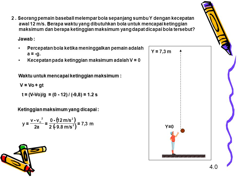 Percepatan bola ketika meninggalkan pemain adalah a = -g.