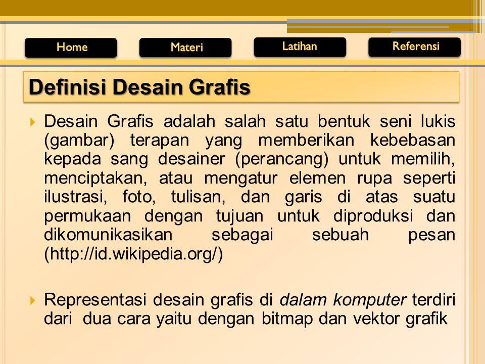 Grafis vektor adalah objek gambar yang dibentuk melalui kombinasi titik-titik dan garis dengan menggunakan rumusan matematika tertentu Pengertian Grafis Vektor Pengertian Grafis Bitmap Grafis Bitmap adalah objek gambar yang dibentuk berdasarkan titik-titik dan kombinasi warna