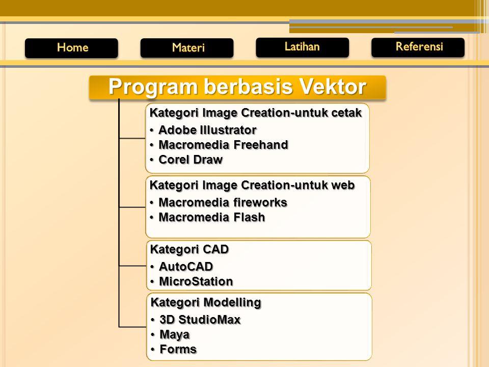 Program berbasis Bitmap Adobe Photoshop Corel Photopaint Microsoft Photo Editor Macromedia Xres