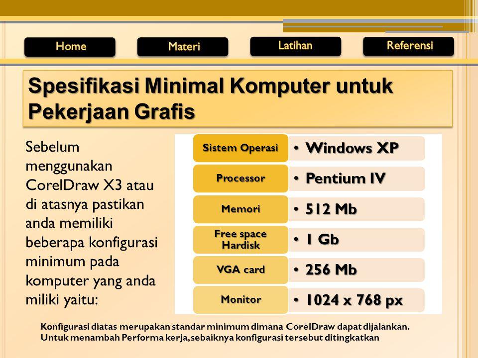 Sebelum menggunakan CorelDraw X3 atau di atasnya pastikan anda memiliki beberapa konfigurasi minimum pada komputer yang anda miliki yaitu: Spesifikasi Minimal Komputer untuk Pekerjaan Grafis Windows XPWindows XP Sistem Operasi Pentium IVPentium IV Processor 512 Mb512 Mb Memori 1 Gb1 Gb Free space Hardisk 256 Mb256 Mb VGA card 1024 x 768 px1024 x 768 px Monitor Konfigurasi diatas merupakan standar minimum dimana CorelDraw dapat dijalankan.