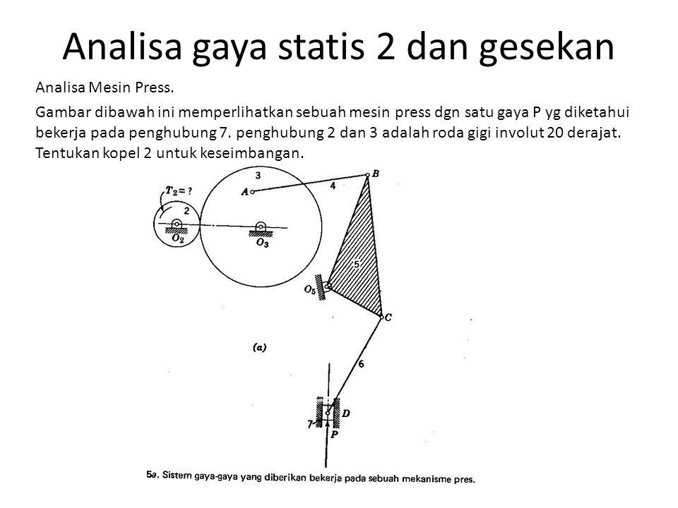 Analisa gaya statis 2 dan gesekan Analisa Mesin Press. Gambar dibawah ini memperlihatkan sebuah mesin press dgn satu gaya P yg diketahui bekerja pada