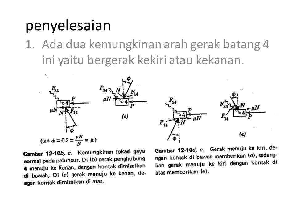 penyelesaian 1.Ada dua kemungkinan arah gerak batang 4 ini yaitu bergerak kekiri atau kekanan.