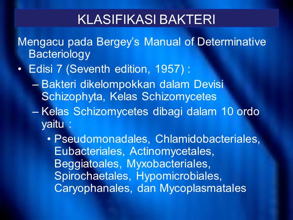 Bergey's Manual of Determinative Bacteriologi, ninth edision Pengaturan yang dibuat dalam buku ini bertujuan untuk memudahkan identifikasi bakteri Bakteri dibagi dalam 35 group, seperti parts di buku Bergey's Manual of Determinative Bacteriology edisi 8 dan Section di Bergey's Manual of Systematic Bacteriology