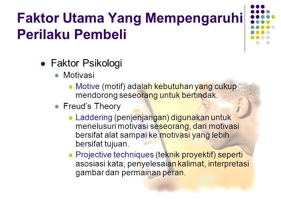 5-14 Faktor Psikologi Motivasi Motive (motif) adalah kebutuhan yang cukup mendorong seseorang untuk bertindak. Freud's Theory Laddering (penjenjangan)