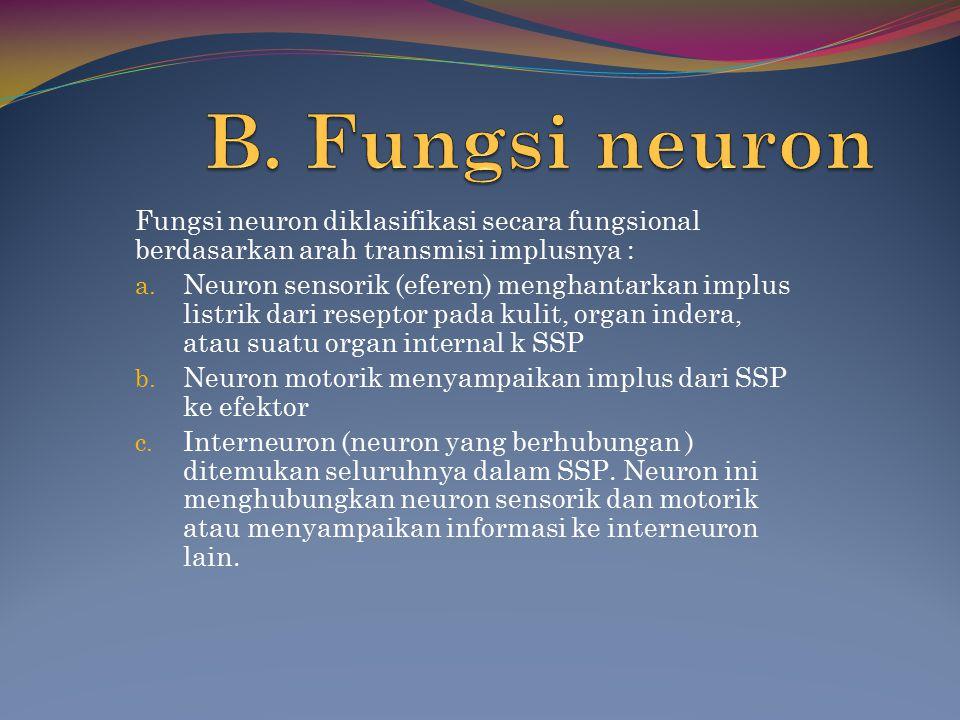 Fungsi neuron diklasifikasi secara fungsional berdasarkan arah transmisi implusnya : a. Neuron sensorik (eferen) menghantarkan implus listrik dari res