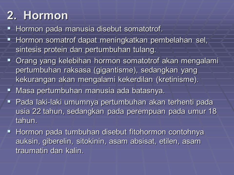 2. Hormon  Hormon pada manusia disebut somatotrof.  Hormon somatrof dapat meningkatkan pembelahan sel, sintesis protein dan pertumbuhan tulang.  Or