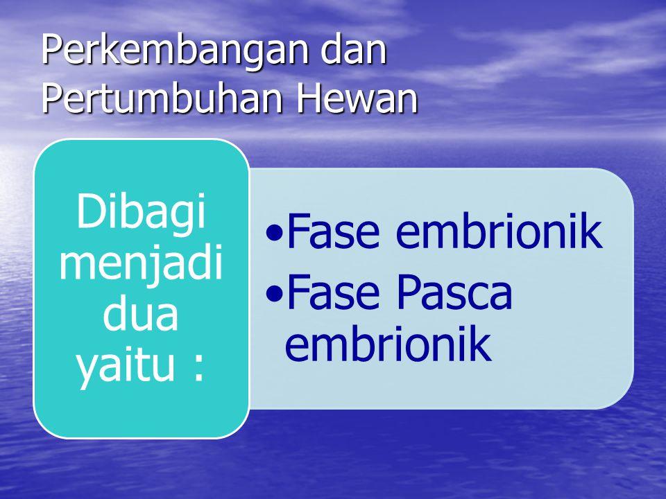 Perkembangan dan Pertumbuhan Hewan Fase embrionik Fase Pasca embrionik Dibagi menja di dua yaitu :