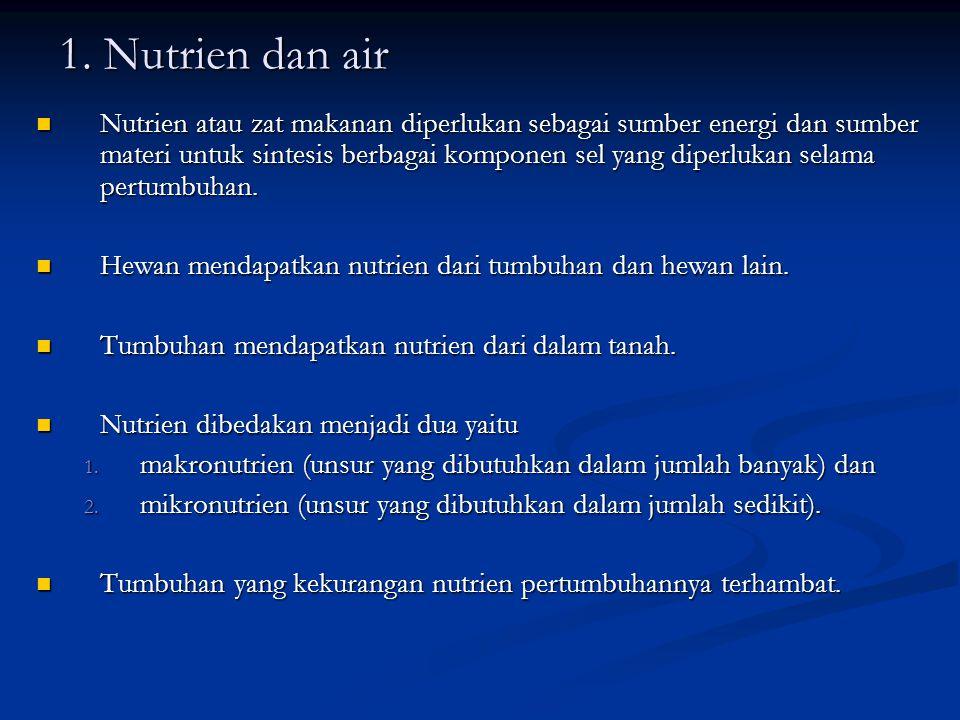 1. Nutrien dan air Nutrien atau zat makanan diperlukan sebagai sumber energi dan sumber materi untuk sintesis berbagai komponen sel yang diperlukan se