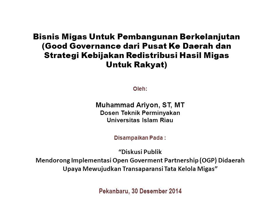 "Pekanbaru, 30 Desember 2014 Oleh: Muhammad Ariyon, ST, MT Dosen Teknik Perminyakan Universitas Islam Riau Disampaikan Pada : ""Diskusi Publik Mendorong"