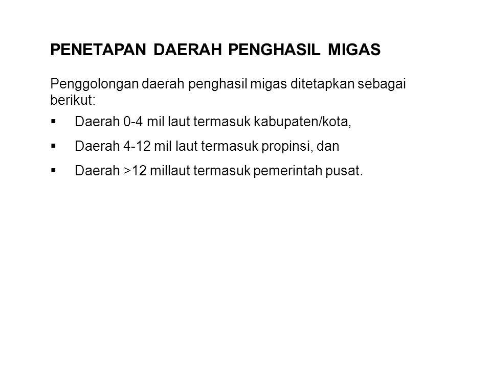 PENETAPAN DAERAH PENGHASIL MIGAS Penggolongan daerah penghasil migas ditetapkan sebagai berikut:  Daerah 0-4 mil laut termasuk kabupaten/kota,  Daer