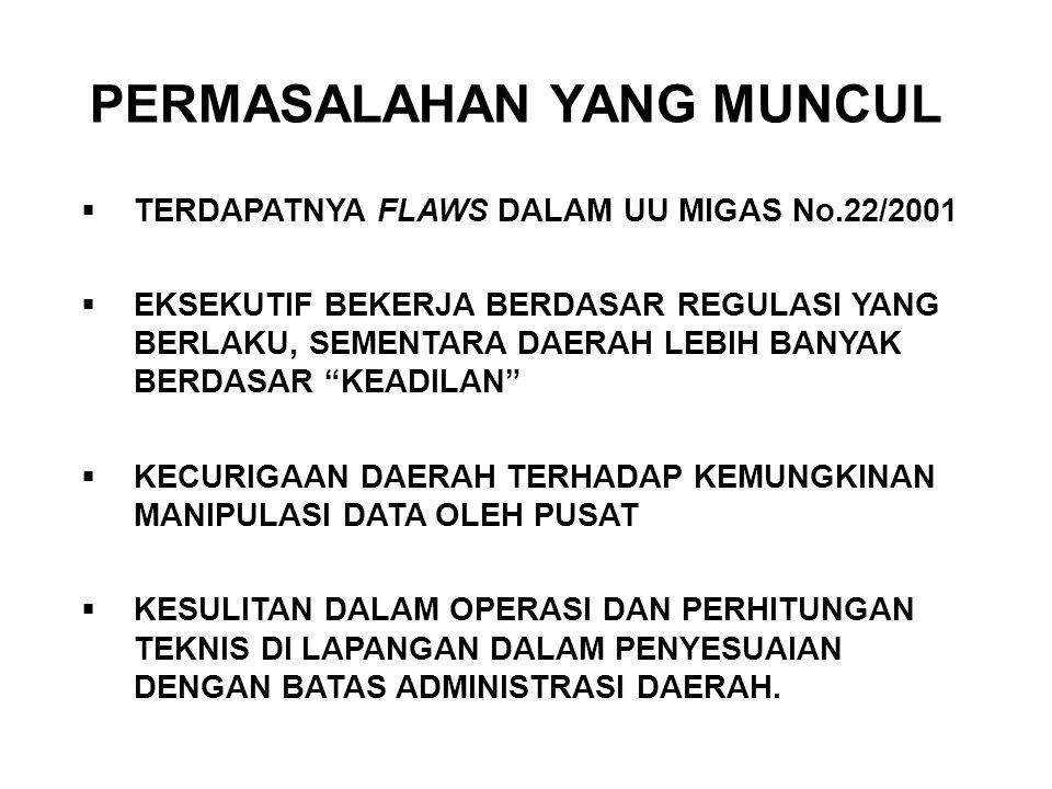 PERMASALAHAN YANG MUNCUL  TERDAPATNYA FLAWS DALAM UU MIGAS No.22/2001  EKSEKUTIF BEKERJA BERDASAR REGULASI YANG BERLAKU, SEMENTARA DAERAH LEBIH BANY