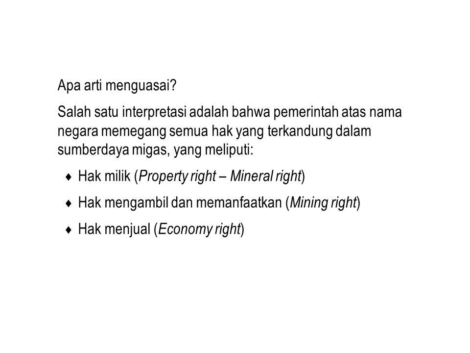 Apa arti menguasai? Salah satu interpretasi adalah bahwa pemerintah atas nama negara memegang semua hak yang terkandung dalam sumberdaya migas, yang m
