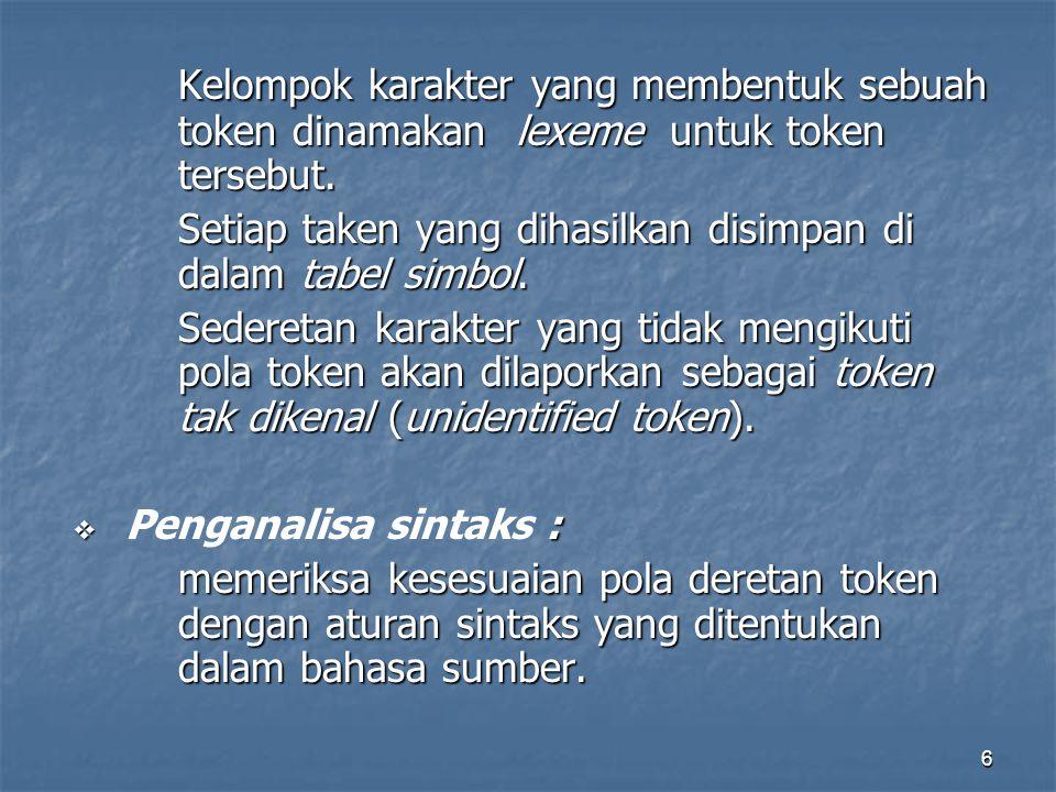6 Kelompok karakter yang membentuk sebuah token dinamakan lexeme untuk token tersebut.