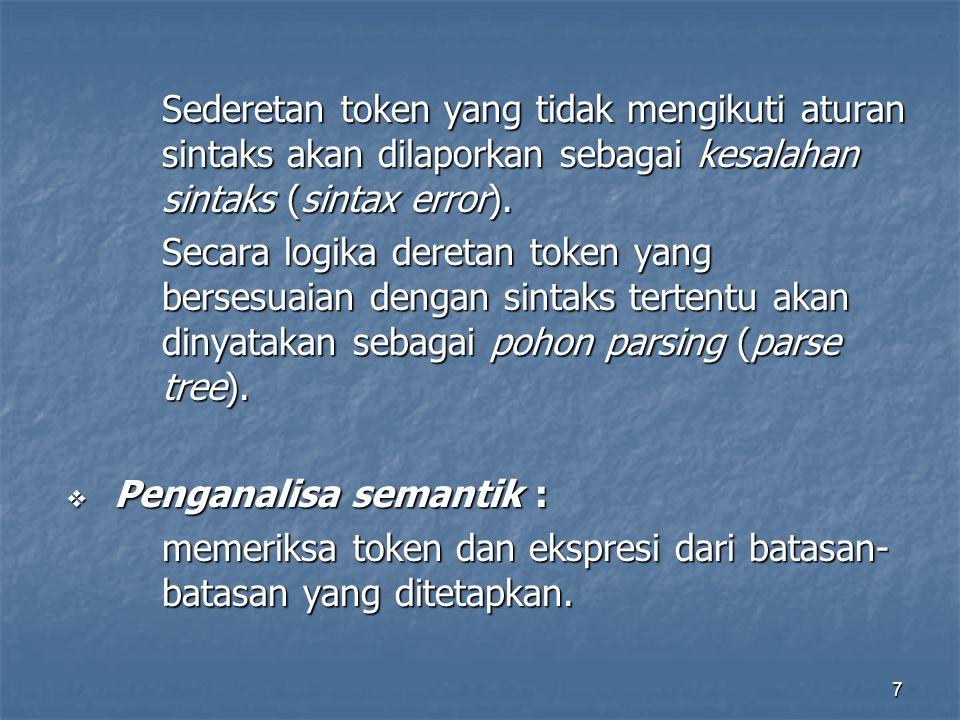 7 Sederetan token yang tidak mengikuti aturan sintaks akan dilaporkan sebagai kesalahan sintaks (sintax error).