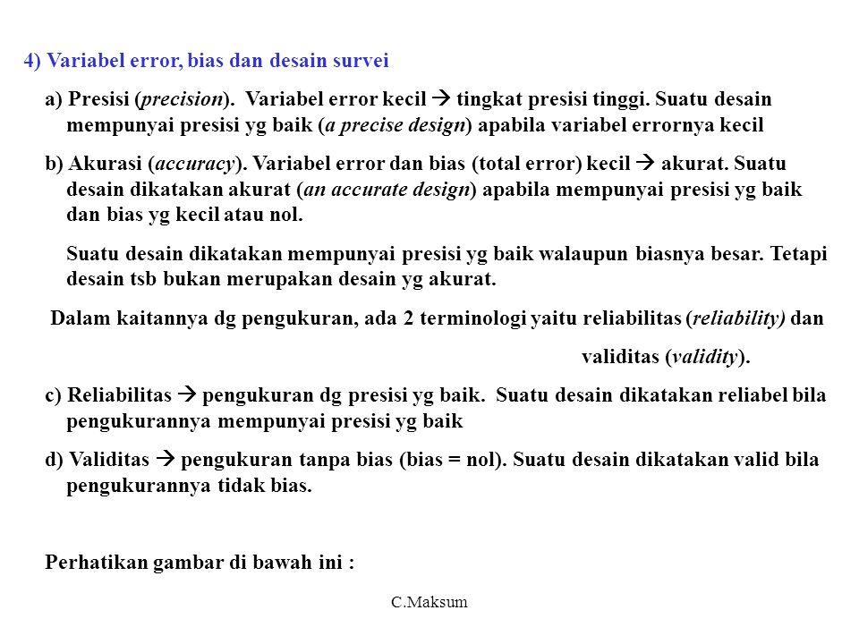 4) Variabel error, bias dan desain survei a) Presisi (precision).
