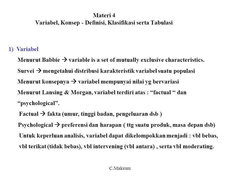 Materi 4 Variabel, Konsep - Definisi, Klasifikasi serta Tabulasi 1) Variabel Menurut Babbie  variable is a set of mutually exclusive characteristics.