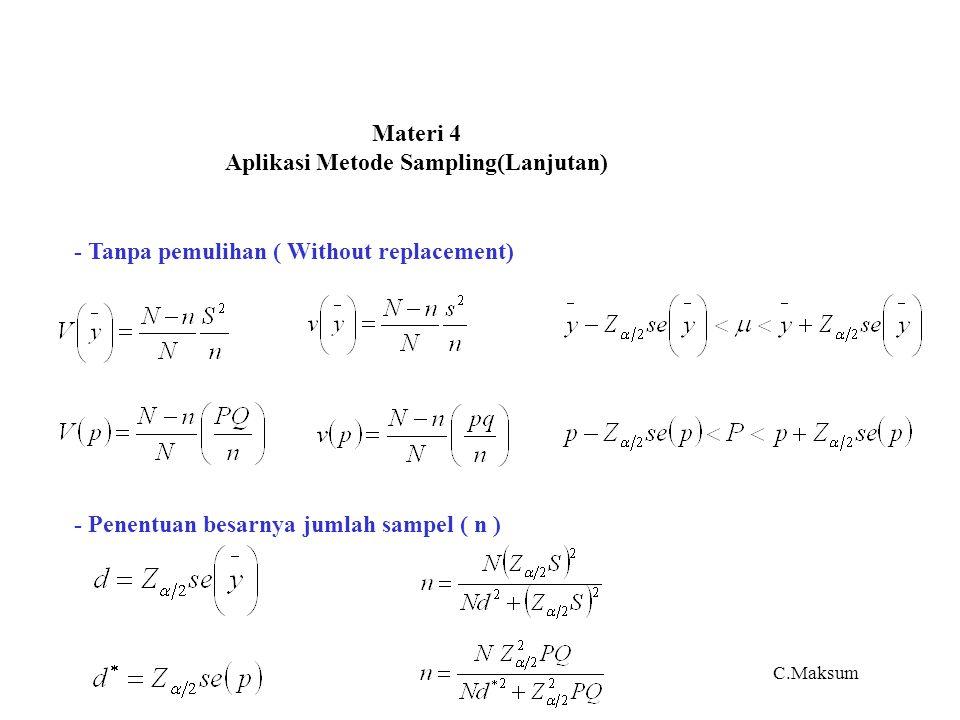 Materi 4 Aplikasi Metode Sampling(Lanjutan) - Tanpa pemulihan ( Without replacement) - Penentuan besarnya jumlah sampel ( n ) C.Maksum