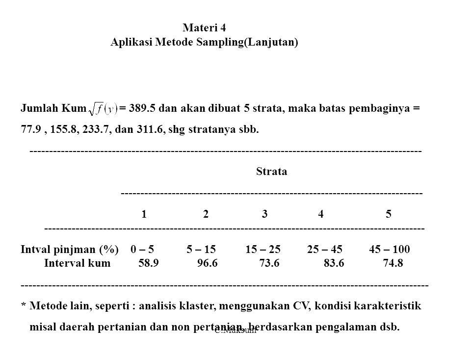 Materi 4 Aplikasi Metode Sampling(Lanjutan) Jumlah Kum = 389.5 dan akan dibuat 5 strata, maka batas pembaginya = 77.9, 155.8, 233.7, dan 311.6, shg stratanya sbb.
