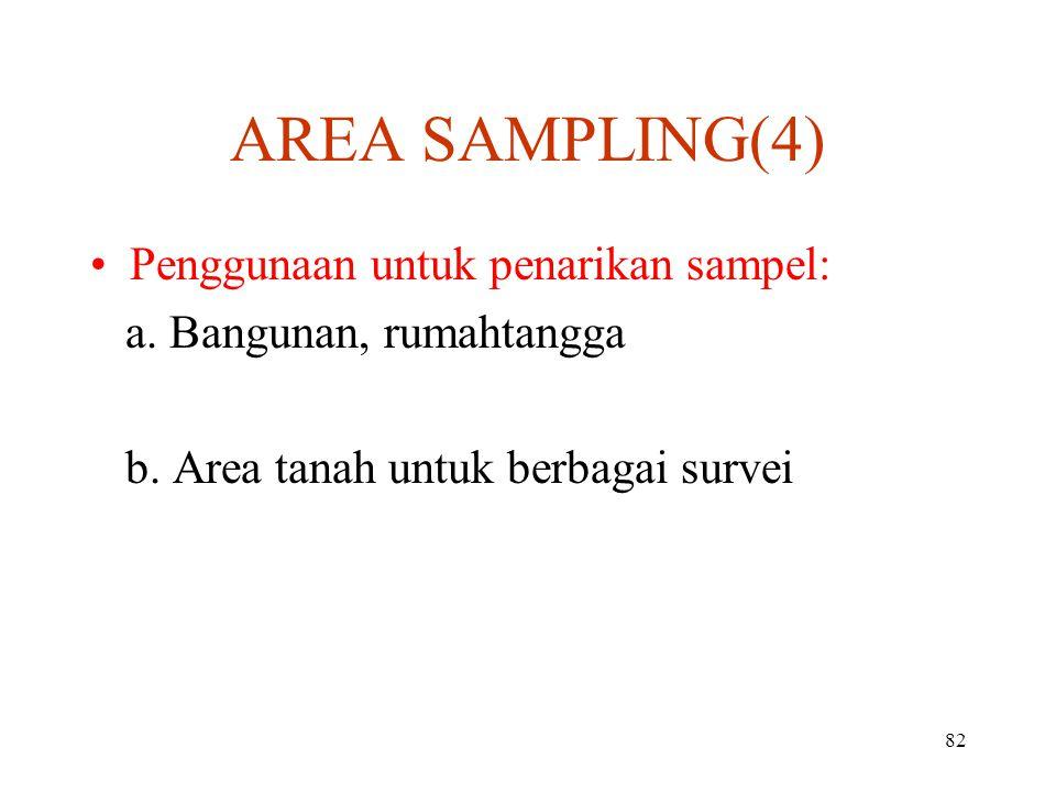82 AREA SAMPLING(4) Penggunaan untuk penarikan sampelPenggunaan untuk penarikan sampel: a.
