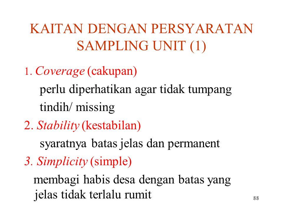 88 KAITAN DENGAN PERSYARATAN SAMPLING UNIT (1) 1.1.