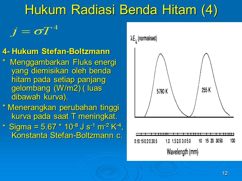 12 4- Hukum Stefan-Boltzmann * Menggambarkan Fluks energi yang diemisikan oleh benda hitam pada setiap panjang gelombang (W/m2) ( luas dibawah kurva).