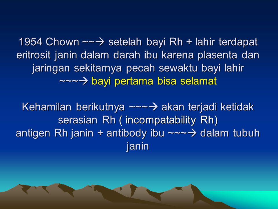 1954 Chown ~~  setelah bayi Rh + lahir terdapat eritrosit janin dalam darah ibu karena plasenta dan jaringan sekitarnya pecah sewaktu bayi lahir ~~~