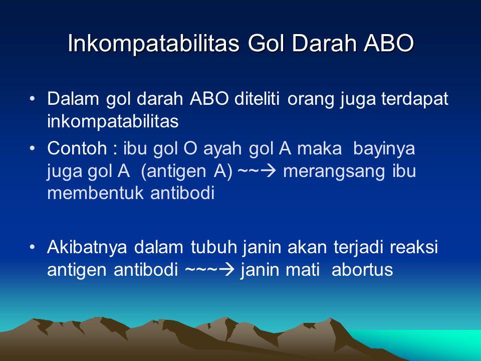 Dalam gol darah ABO diteliti orang juga terdapat inkompatabilitas Contoh : ibu gol O ayah gol A maka bayinya juga gol A (antigen A) ~~  merangsang ib