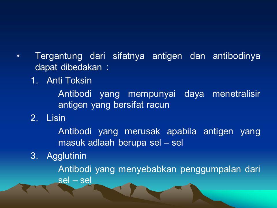 Tergantung dari sifatnya antigen dan antibodinya dapat dibedakan : 1.Anti Toksin Antibodi yang mempunyai daya menetralisir antigen yang bersifat racun