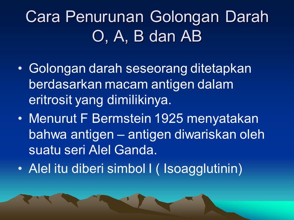 Interaksi antara Alel – Alel I A, I B, dan i yang menyebabkan terjadinya golongan darah A, B, AB dan O Golongan Darah (Fenotip) Antigen dalam Eritrosit Alel dalam Kromosom Genotip O A B AB - A B AB i I A I B I A dan I B ii I A I A dan I A i I B I B dan I B i I A I B Keadaan dominasinya sebagai berikut : (I A = I B ) > i