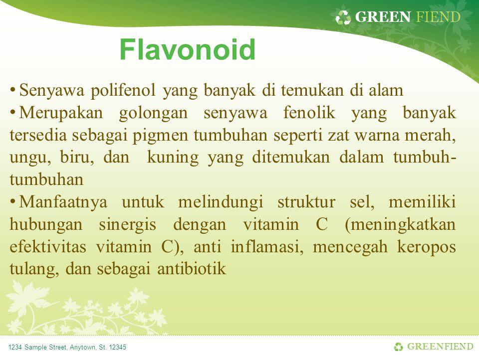 GREEN FIEND 1234 Sample Street, Anytown, St. 12345 Flavonoid Senyawa polifenol yang banyak di temukan di alam Merupakan golongan senyawa fenolik yang