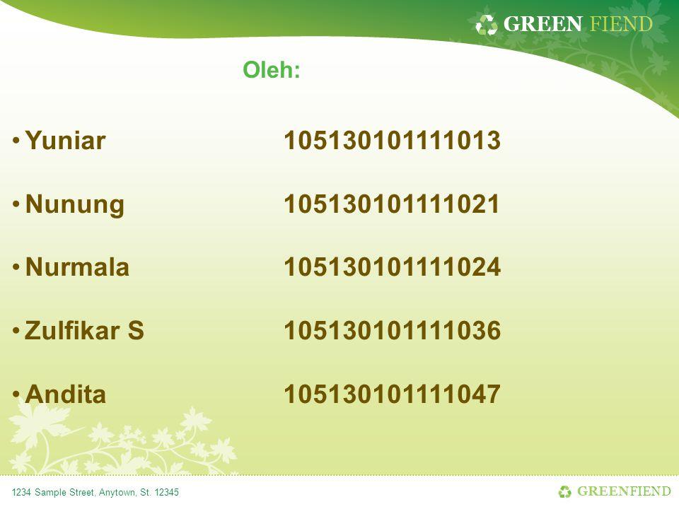 GREEN FIEND 1234 Sample Street, Anytown, St. 12345 Oleh: Yuniar105130101111013 Nunung105130101111021 Nurmala105130101111024 Zulfikar S105130101111036