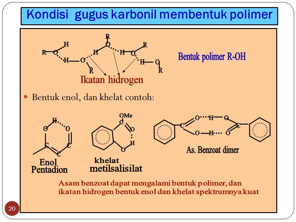 Kondisi gugus karbonil membentuk polimer 20 Bentuk enol, dan khelat contoh:
